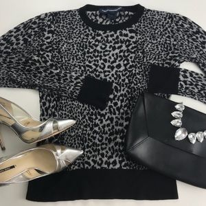 French Connection Leopard Print Pullover Sweater